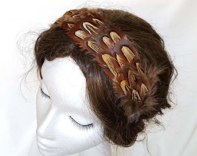 Free DHL upgrade! Headband Fascinator Natural Brown Black Feathers Unique Xmas Valentine Gift for Her Evening Hat Theatre Cocktail Hat JCN