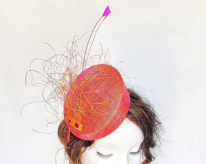Free DHL upgrade! Pink Orange Percher Hatinator Fascinator Feathers Unique Headpiece Cocktail Hat Mother Bride Groom Wedding Millinery JCN