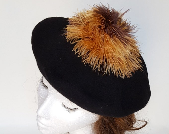 Free DHL upgrade! Wool Beret Beanie Hat Black Beige Brown Gold Mustard Pom Pom Ostrich Feathers Dressy Casual Hat Unique Gift for Her JCN