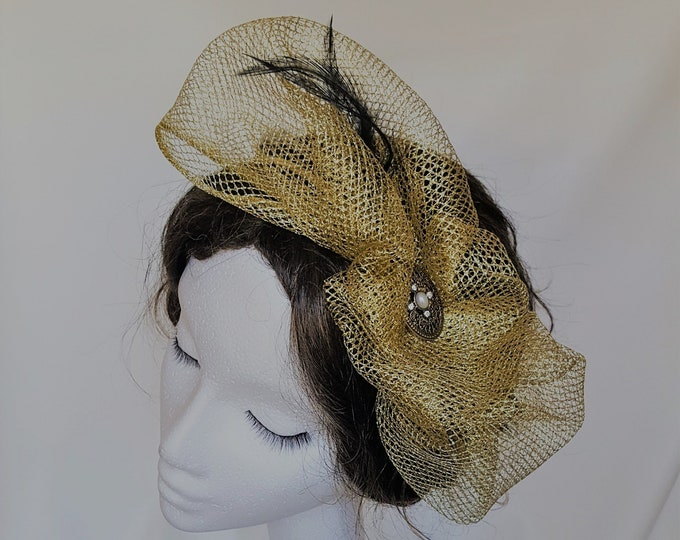 Free DHL upgrade! Unique Gold Fascinator Black Feathers Glitter Veiling Brooch Cocktail Burlesque Hat Xmas Gift for Her New Years Eve JCN