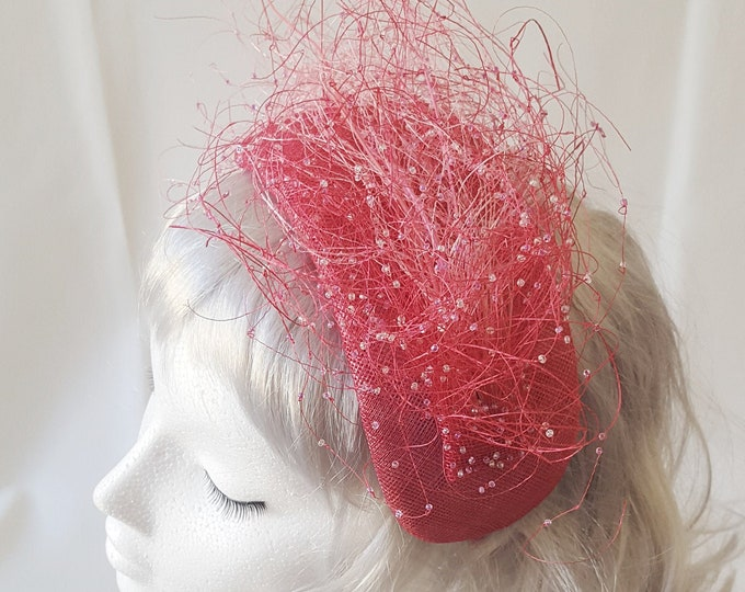 Pink Wedding Hat, Mother of the Bride, Fall Wedding, Occasion Hat, Wedding Headpiece, Fascinator, Kate Middleton Hat, Millinery Couture, JCN