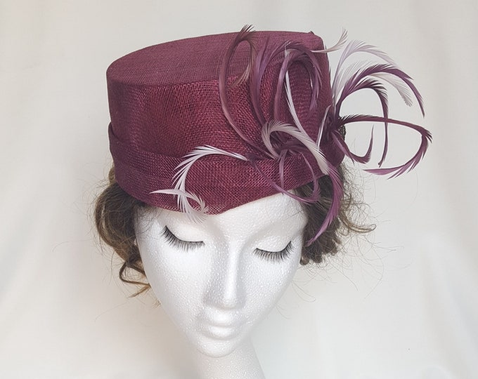 Elegant Pillbox Hat, Wine Red and Pink Hat, Occasion Hat, Mother Of The Bride Hat, Church Hat, Wedding guest hat, Kate Middleton Hat, JCN