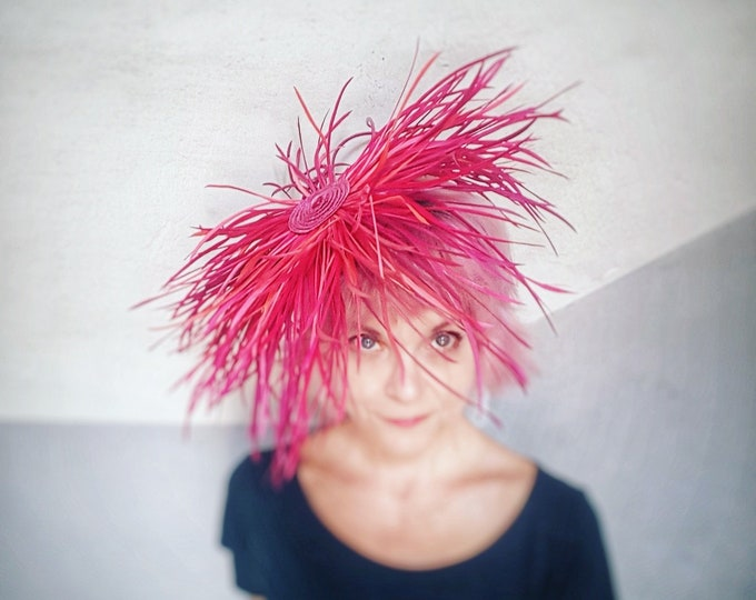 Feather Headpiece, Royal Ascot Hat, Hot Pink Coral Hat, Big Fascinator, Wedding Headpiece, Fascinator Hats, Wedding Guest Hat JCN Medusa