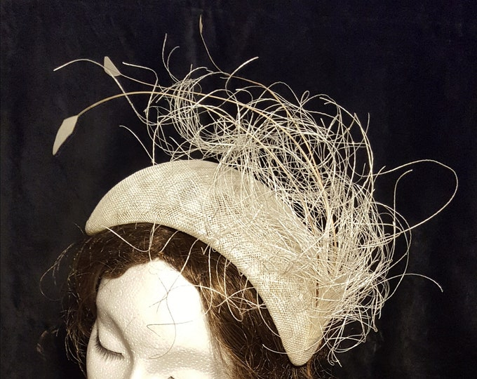 DHL priority! Ivory White Bridal Fascinator Wedding Black White Dinner Statement Hat Unique Bride Headpiece Diner en Blanc JCN Seaweed
