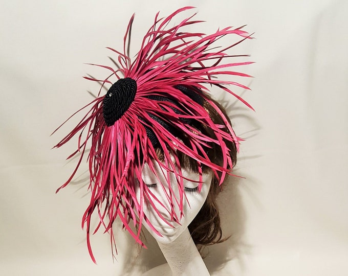 Free DHL upgrade! Hot Pink and Black Fascinator Hat Big Feathers Unique Millinery Headpiece Kentucky Derby Royal Ascot Wedding Guest JCN