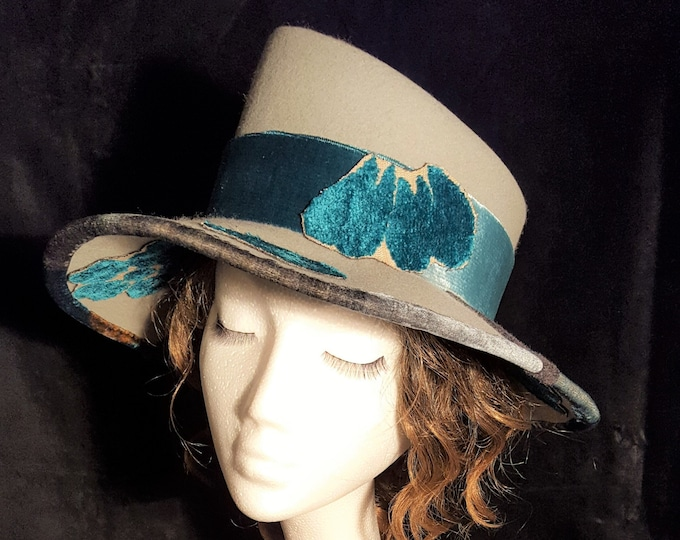 Free DHL upgrade! Asymmetrical Grey Top Hat Wide Brim Turquoise Blue Velvet Winter Fashion Trend Evening New Romantic Hat Gift for Her - JCN