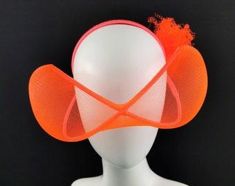 Futuristic Headpiece, Neon Orange, Futuristic Glasses, Disco Glam, Space Glam, Neon Fascinator, Disco Party, JCN Futuristic Millinery