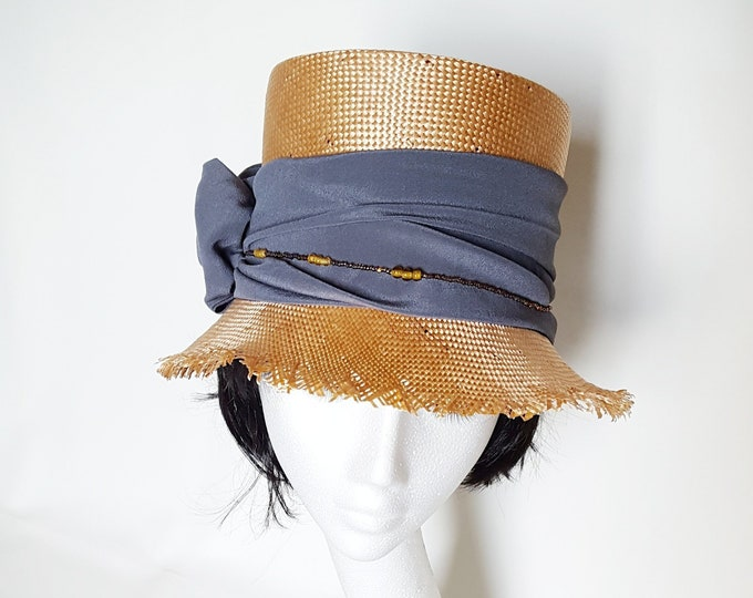 DHL priority! High Cloche Straw Hat Peach Pink & Grey Summer Unique Millinery Hat Elegant Casual Chic Hat Wedding Guest Garden Party JCN