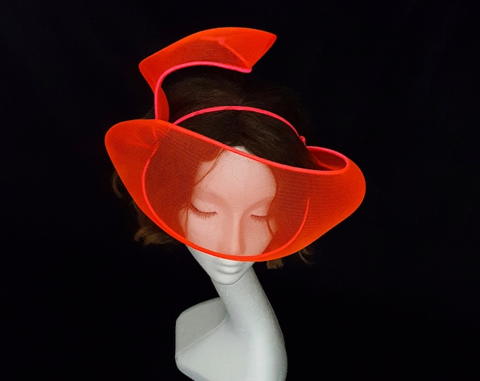 Neon Trend, Fluo Party, Disco Night, Evening Headpiece, Fascinator, Orange Headpiece, Red Carpet Hat, Ultra Glam Hat, JCN Fluo Mask