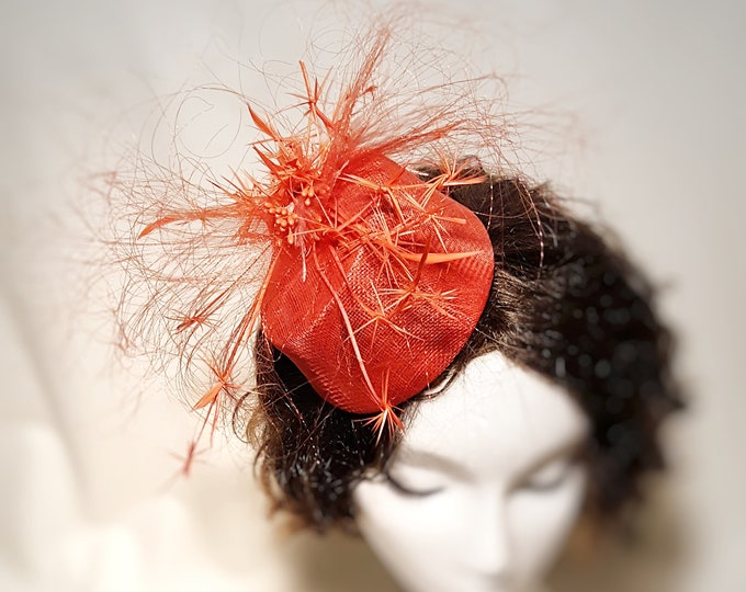 Coral Pink, Mother of the Bride, Fall Wedding, Percher, Hatinator, Fascinator, Unique Headpiece, Cocktail Hat, Millinery Couture, JCN