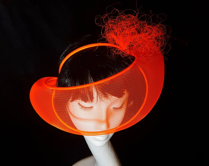 Neon Trend, Fluo Party, Ultra Neon, Disco Headpiece, Evening Headpiece, Fascinator, Orange Headpiece, Ultra Glam Hat, JCN Fluo Mask