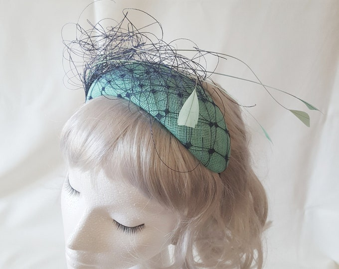 Aqua Green Blue Fascinator, Mother of the Bride, Bachelorette Crown, Wedding Headpiece, Wedding Guest Hat, Millinery Headband, JCN Seaweed