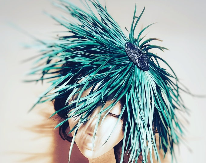 Free DHL upgrade! Medusa Hair Fascinator Hat Jade Green Blue Feathers Unique Millinery Headpiece Kentucky Derby Royal Ascot Wedding  JCN