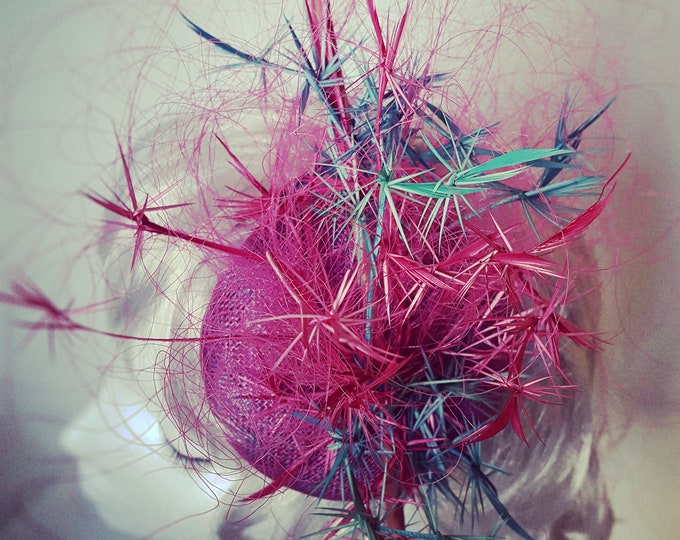 Pink Teal Blue, Fall Wedding, Fascinator, Occasion Hat, Wedding Guest Headpiece, Millinery Couture, Tea Party Hat, JCN Seaweed