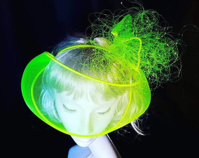 Neon Trend, Fluo Party, Disco Night, Evening Headpiece, Fascinator, Yellow Headpiece, Red Carpet Hat, Ultra Glam Hat, JCN Fluo Mask