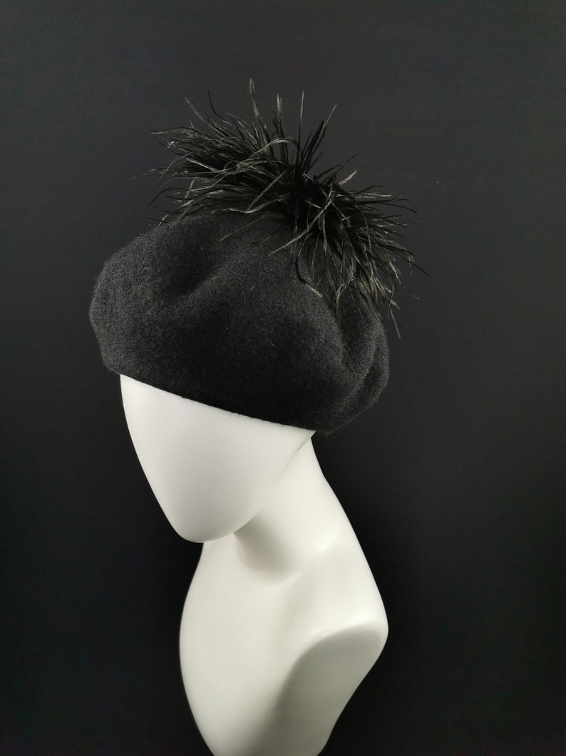 Fashion Black Beret with Feathers Hat with Feathers Women Beret JCN Evening Hat Stylish Hat French Beret Designer Beret Hat