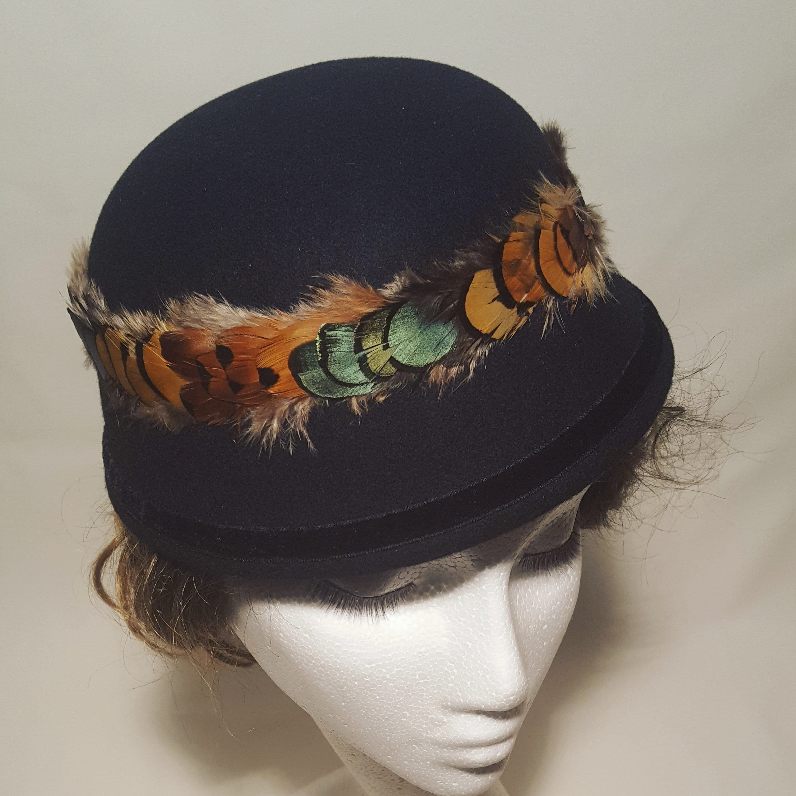 b005437bc76f0 Free DHL upgrade! Black Felt Cloche Hat Natural Feathers Crown ...