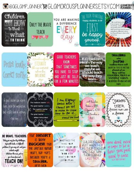 Happy Planner Teacher Stickers Teaching Quotes Teacher Planner 2 inch stickers Full Size HP Happy Planner Stickers V 1