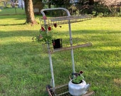 Antique Metal Cart, Rolling. Flower Cart, Dolly Cart, Flower Shop, Display Cart. Garden Tools, Vintage, Plant Stand, Three Tier, Industrial