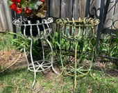 CUSTOM FOR MARY Vintage Wrought Iron Plant Stand, Heavy. Metal, Planter, Holder, Outdoor, Indoor, Ornate Design