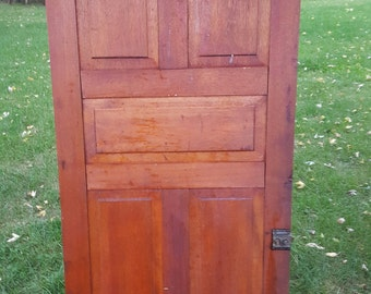 Bon Old Wood Door, Antique, Cupboard Door, Architectural Salvage, 5 Panel,  Pantry Door, Panel, Solid Wood, Hardware, Hinges, Original D4