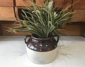 Primitive Rustic Farmhouse Stoneware Robinson Ransbottom Bros. Blue Crown Crock, Two Tone 4 Bean Pot, Antique Handled Collecible Pottery