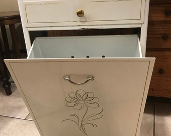 Antique Defecto Metal Hamper, Laundry Organizer, Mid Century Cabinets,  Footed Storage Cabinet, Clothes, Lingerie Hamper, Pantry Organizer