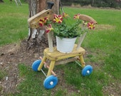 Country Farmhouse Flower Pot, Plant Holder, Antique Child 39 s Ride On Toys, Plant Stand, Garden Decor, Old Yard Art Whimsical, Porch, Kids Toy