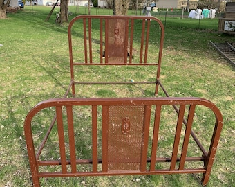 Antique 1940/'s Tubular Metal Bed Frame Country Farm House