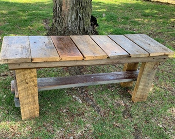 Entryway Antique Rustic Farmhouse Wood Bench Bedroom IndoorOutdoor 140 Year Old Stanction Stall Reclaimed Wood Cabin Lodge Furniture