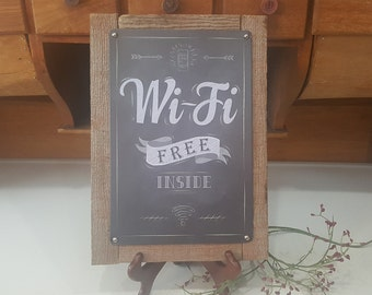 Farmhouse Free Wi Fi Sign, Distressed Free Wi Fi Sign, Upcycled, Old Metal  Sign, Gift For Boss, Office Gift, Business Grand Opening Gift