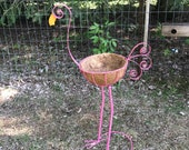 Ornate Pink Flamingo Tall Metal Bird Planting Pot, Planter, Large Bird Statues, Garden Yard Art, Indoor Outdoor Plant Stand, Bird Metal Art