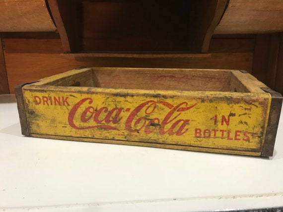 Coca Cola Wood Crate Antique Wooden Crates Vintage Soda Advertising Wood Boxes Bins Old Wood Crates Yellow Red Graphics Coke Crate