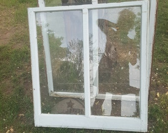 Vintage Wood Window Frame, Two Pane, Antique Farmhouse Windows, Architectural Salvage, Replacement, Building Supplies, Old Wood Window  AU32