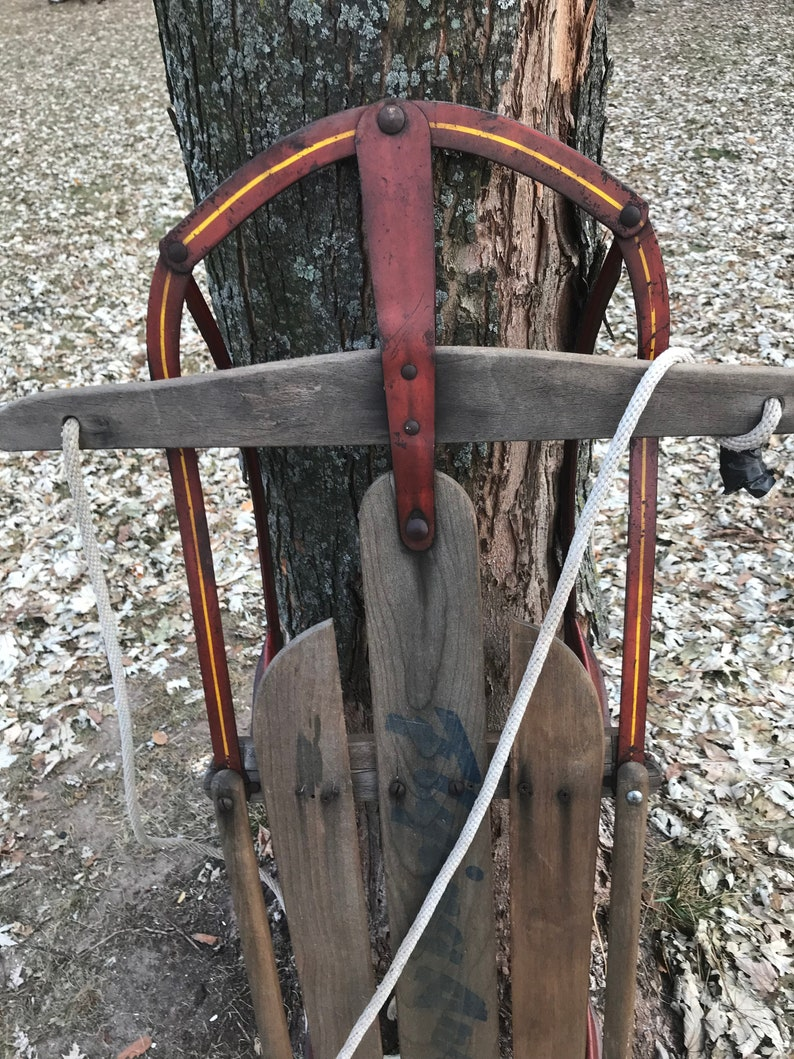 Antique Wood Sled Metal Runner Holiday Winter Decor Old Flying Arrow Wooden Sled Rustic Farmhouse Country Wreath Door Hanger Red Sled