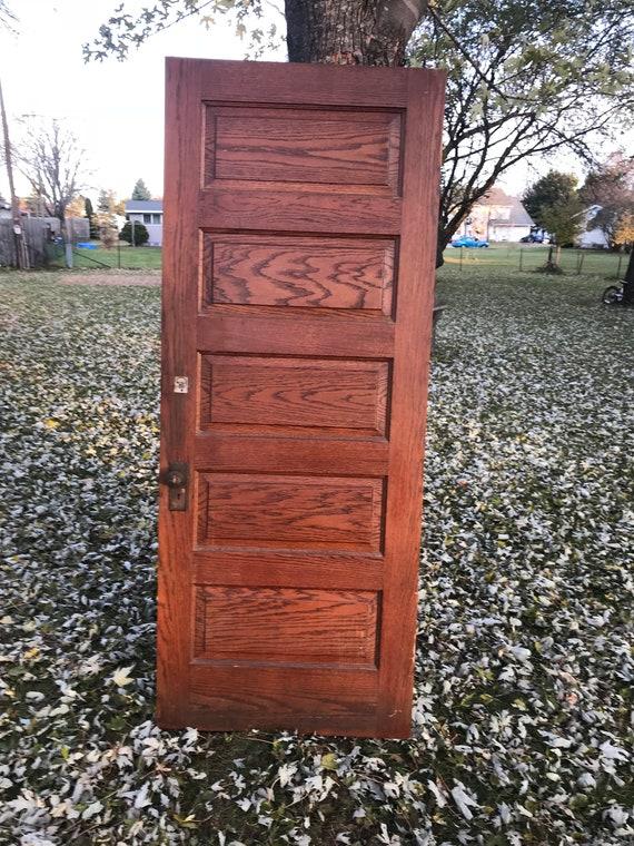 image 0 - Antique Solid Wood Oak Recessed Five Panel Door Building Etsy