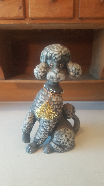 Vintage French Poodle 1950s Figurine Dog Silver Gray Pink MCM FeFe