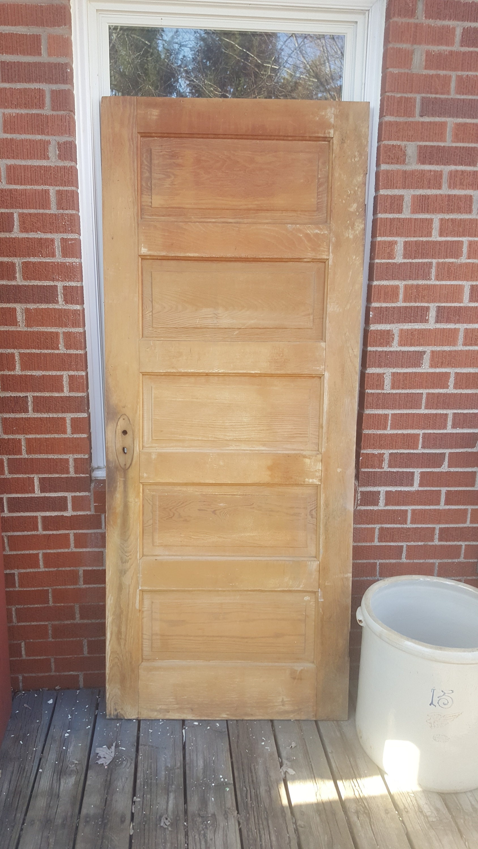 Vintage Wood Paneling: Old Solid Wood Panel Door Antique Interior Door Building
