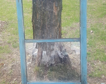 Old Wood Window Frame, 2 pane, Antique Farmhouse Windows, Antique Windows, Two Pane, Architectural Salvage, Building Supplies Primitive AT64
