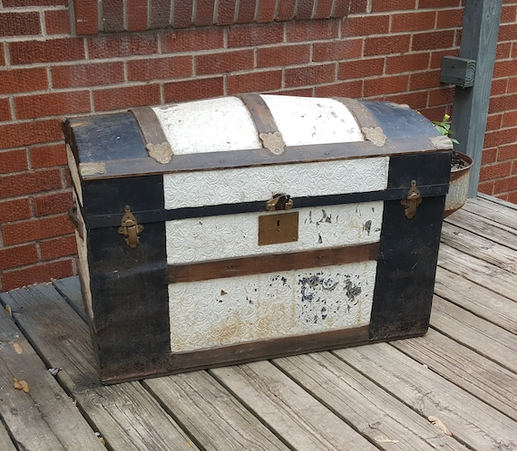 Antique Wood Metal Trunk Camelback Chest Dome Top Steamer Etsy