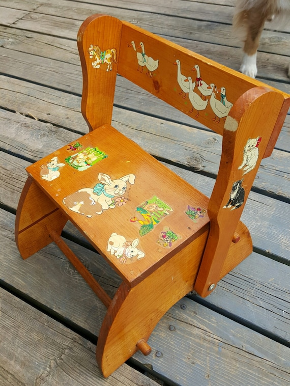 Fantastic Antique Childs Story Step Stool Converts To Chair Sturdy Childrens Stool Toddler Wood Chair Vintage Childrens Chair Nursery Rhymes Gmtry Best Dining Table And Chair Ideas Images Gmtryco
