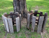 Set of 2, Rustic Distressed Wood Metal Plant Holder Stand, , Rusty Metal Porch Garden Planters, Whiskey Barrel Style