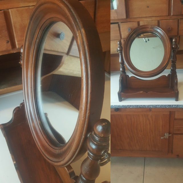 Antique Wood Vanity Mirror And Tray Shaving Mirror Cosmetic Etsy