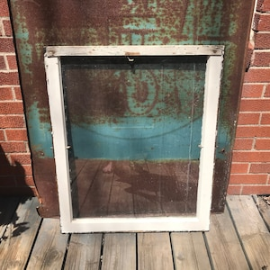 4 pane Farmhouse Salvage Rustic Home Decor Wavy Glass Lites Building Supply BA40 Architectural Salvage Antique Wood Window Frame