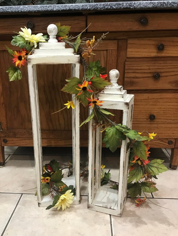 antiqued modern farmhouse handmade wood lanterns set of 2 etsy