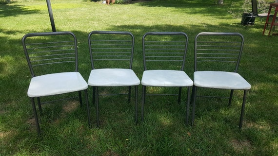 Vintage Folding Chairs Set Of 4 Dining Room Kitchen Metal | Etsy