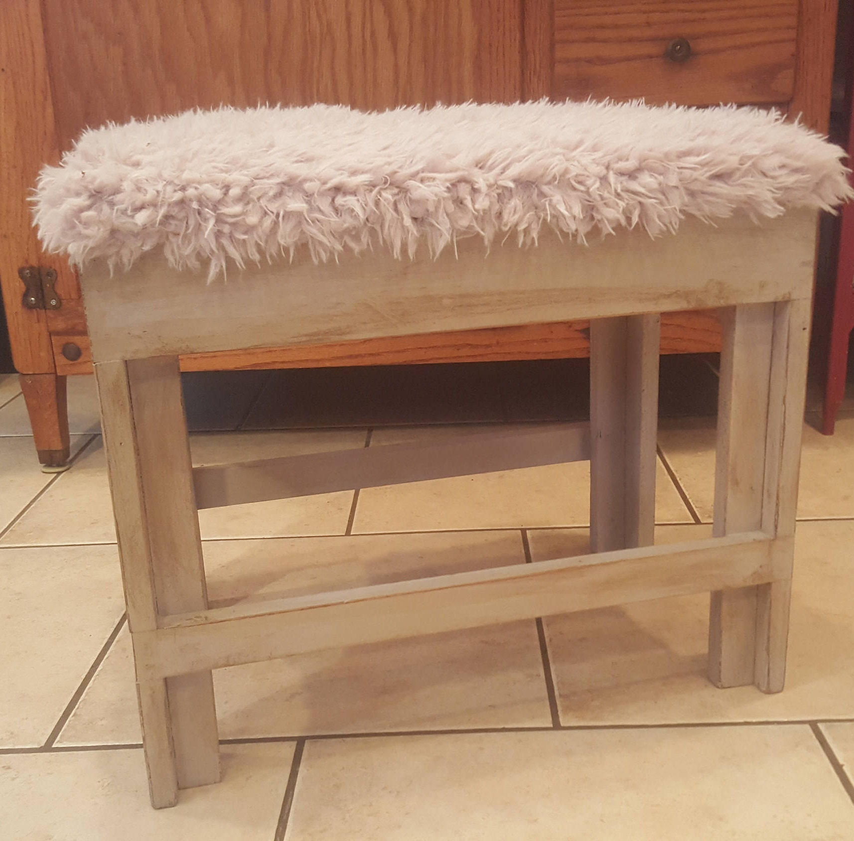 Shabby Chic Wood Bench Vanity Chair Distressed Painted