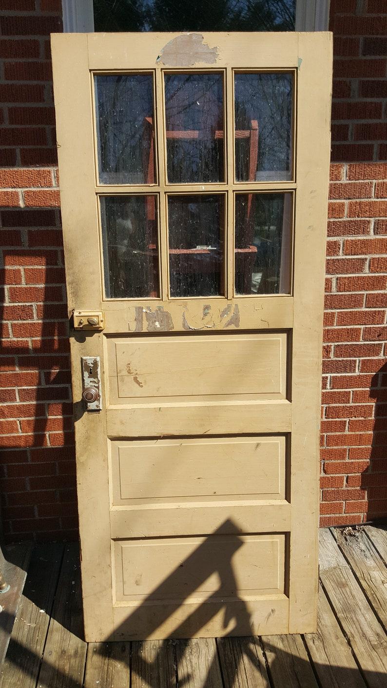Old Wood Exterior Door 6 Pane Window 3 Panel Wood Window Etsy