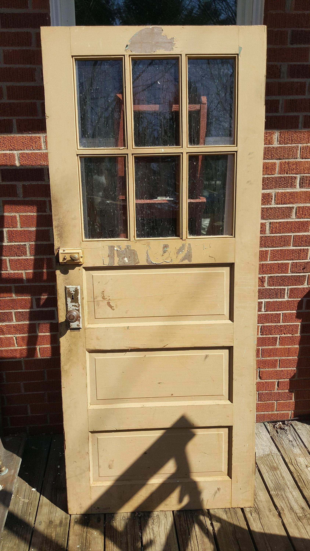 Vintage Wood Paneling: Old Wood Exterior Door 6 Pane Window 3 Panel Wood Window