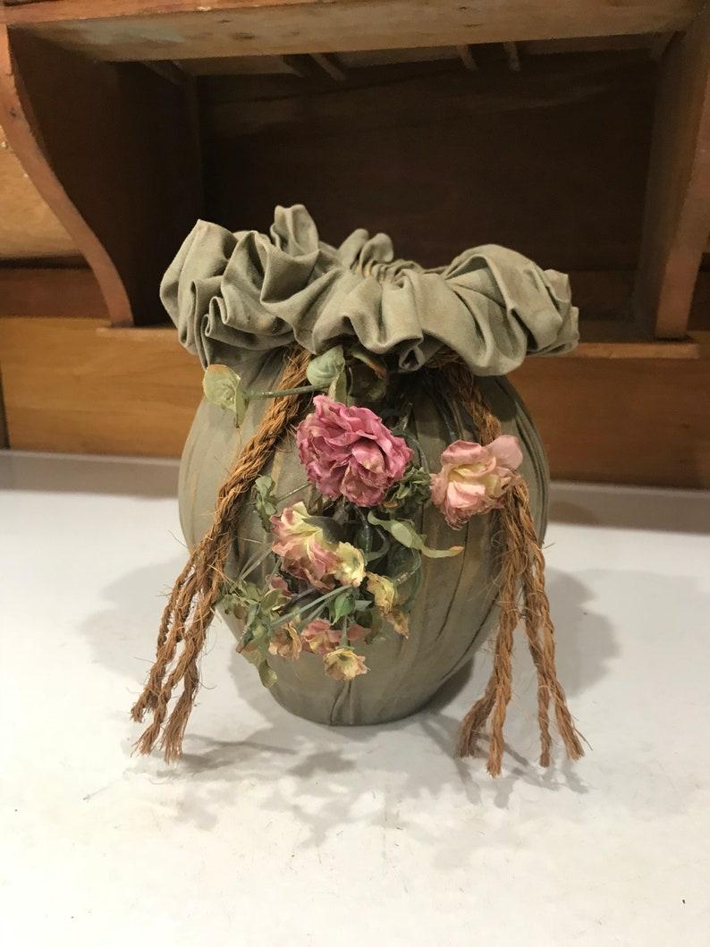 Vintage Sage Green Fabric Vase Shabby Chic Home Decor Etsy